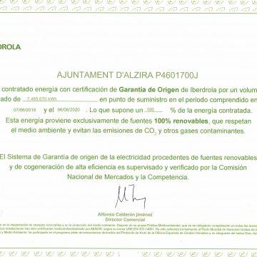 Alzira renova l'enllumenat públic amb energia renovables