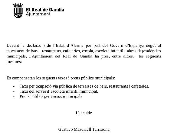 El Real de Gandia compensa taxes municipals per ajudar als veïns durant l'estat d'alarma