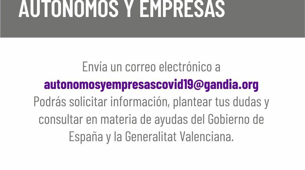 Gandia impulsa un servei per informar a autònoms de les ajudes del Govern i la Generalitat