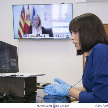 L'alcaldessa de Gandia participa en una videoconferència amb la consellera de Justícia per coordinar el Pla de l'emergència de la Covid-19