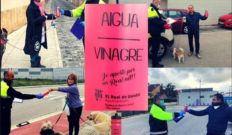 El Real de Gandia reparteix botelles per a netejar l'orina de mascotes al carrer
