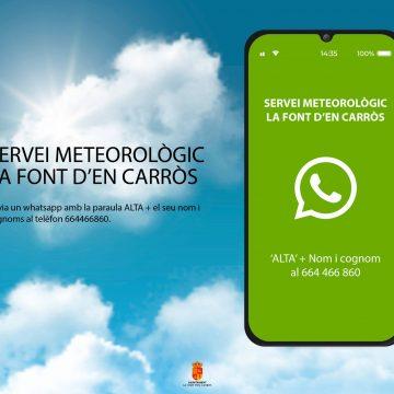 La Font d'En Carrós posa en marxa un servei d'alerta meteorològica via whatsapp