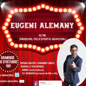 Eugeni Alemany farà riure a Oliva el pròxim 18 d'octubre