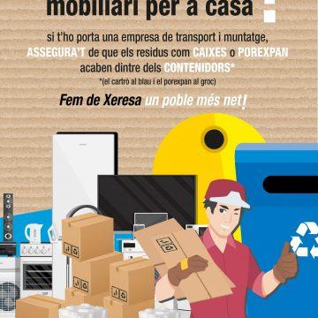 L'Ajuntament de Xeresa posa en marxa una campanya per a la correcta gestió dels residus