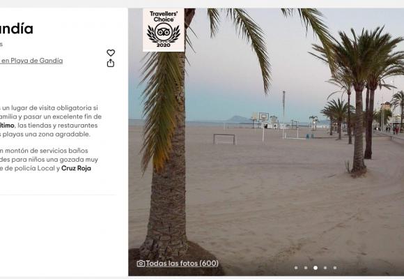 Tripadvisor atorga el premi Travellers' Choice 2020 a la platja de Gandia