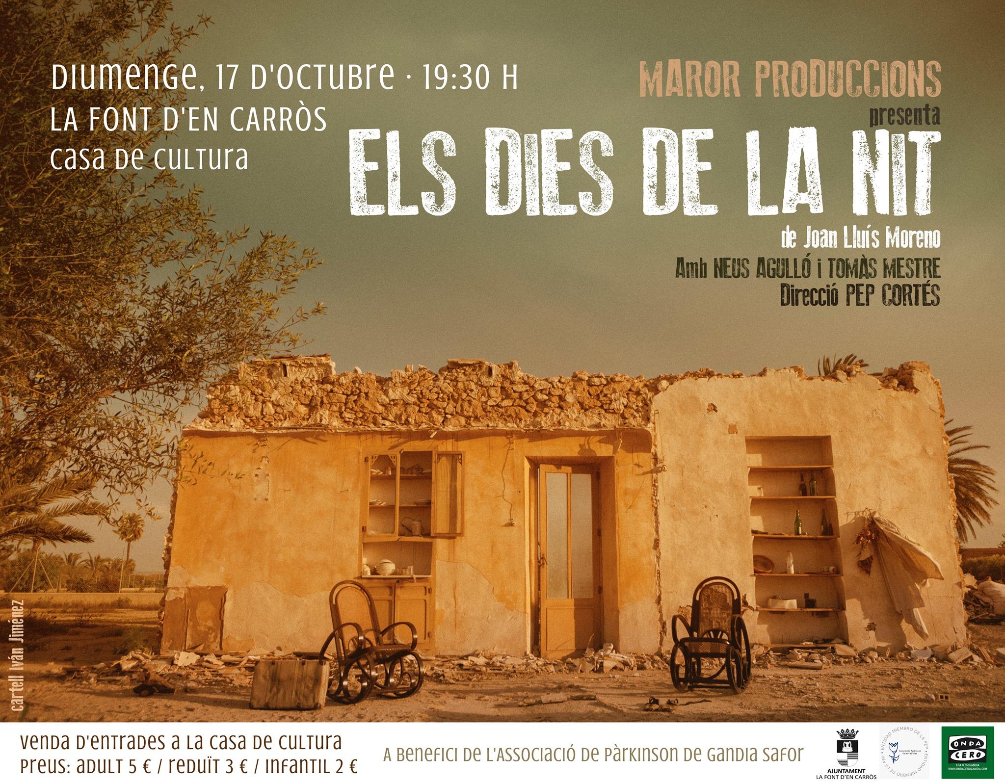 La Font d'en Carròs acull aquest diumenge l'obra teatral  «Els dies de la nit» a benefici de l'Associació Parkinson Gandia Safor